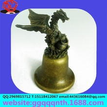 Professional wholesale custom can add LOGO arts and crafts Zinc alloy metal meal horn dinosaur modelling of ancient bronze bell