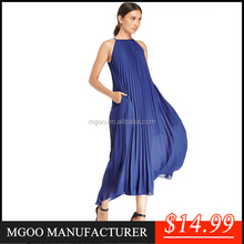MGOO ODM/OEM 2015 New Chiffon Pleated Maxi Dress For Women Halter Neck Pink Blue Pleated Ruched A line Beach Style Dress