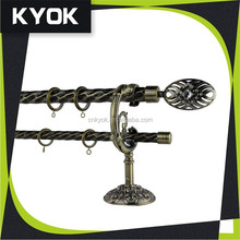 good strength twisted lines smooth metal double curtain rods for home decoration