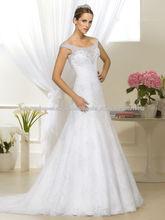 Altas vestidos de casamento Qualidade duas tiras uma linha com Lace Appliqued frisada Decoração Vestido De Festa 2014