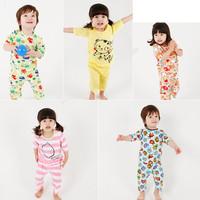 MS64855C Korean fashion 2015 kids pajamas baby cotton night suits