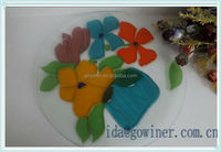 clear glass plate with flower design with safest metrial in cheap price