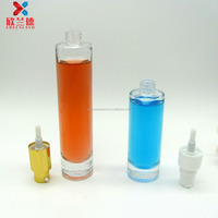 30ml,50ml round shape glass bottle for body lotion cosmetic packaging with pump