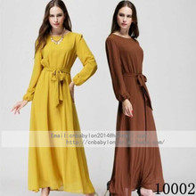 Islamic Clothing 2014 Women Chiffon Long Maxi Dresses Muslim Garment Moroccan Kaftan