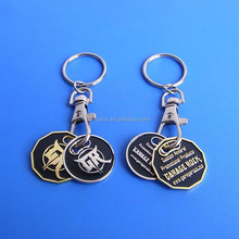 Canada 2 coins token trolley keychain,shopping trolley coin keychain