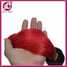 Crazy Hot Sale 2015 Factory Price Tangle Free Colored 100% Remy Human Hair 3 Bundles Red Brazilian Hair Weave