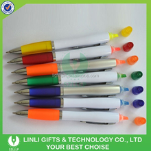 2 in 1 ABS Plastic Multifunctional Highlighter Ball Pen with Custom Logo