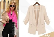 Blazer With Foldable Sleeves and Side Pockets
