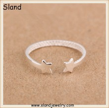 alibaba express fashion Sterling silver jewelry new products, 925 Silver star ring/adjustable plain silver rings