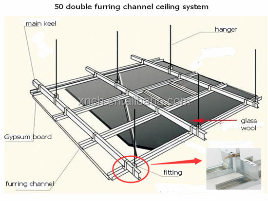 Galvanized False Steel Ceiling Sections C Channel