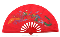 32cm Wushu taichi kungfu sport red bamboo chain-longfeng hand fan for show and open fast with loud sound