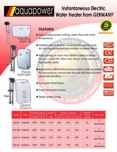 AQUA POWER INSTANTANEOUS WATER HEATER