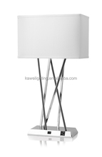 2015 best price hot sale Brushed Nickel Hotel Table Lamp With 2 Outlets and White Fabric Shade and USB port