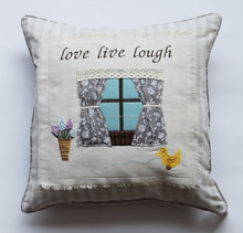 HT15-60 cute lace and pplique embroidery cushion cover