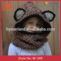 W-349 fashion handmade knit animal beanie fox hooded cowl hat with wooden button