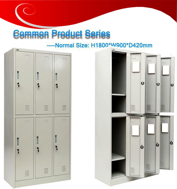 High Quality Gym Metal 6 Door Storage Cabinets Metal Locker Bedroom ...