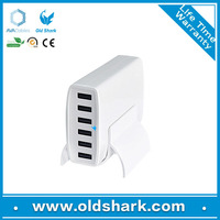 OEM high performance multi USB wall charger desktop rapid charging station, 12A 6 port usb charger with smart IC