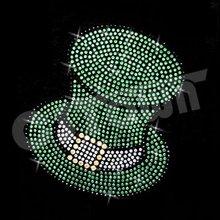 Lucky hat crystal iron on rhinestone transfers