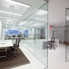 N172 Great Thin Glass Wall Sliding Door Interior, Clear Tempered Glass Partition Wall For Office Wall