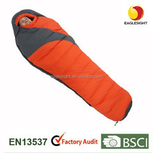 Flannel sleeping bags with soft down