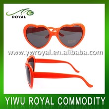 Cheap Party Orange Adult Heart Shaped Plastic Sunglasses