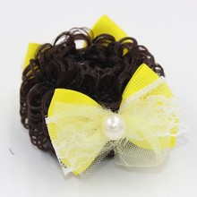 HL-0199 Colorful Fabric Hair Bow Elastic Hair Band with Wig and Pearl for Girls