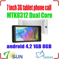 MTK8312 Dual Core Phone Call Tablet PC Android 4.2 1GB 8GB GPS Bluetooth Wifi Camera 7 inch android tablet with built-in 3g