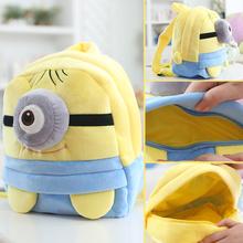 25*19cm(S)/35*28cm(L) lovely customzied yellow single-eye Minions plush animal cartoon backpack for children