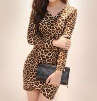 D37480A Korean style leopard print v neck sexy ladies wrap dresses