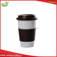 Double wall ceramic coffee mug rubber lid