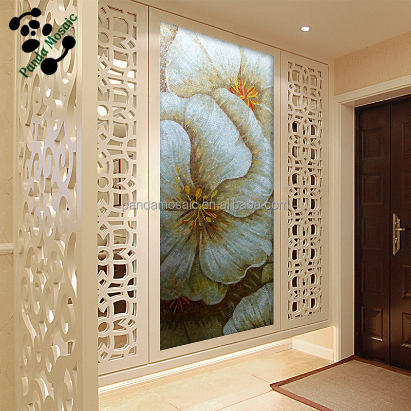 Mb smm04 hallway wall decor handmade mosaic flower for Mural glass painting