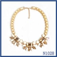 Handcraft blue crystal necklace 2015,Elegant women crystal bead necklace ,Unique cheap ribbon necklace