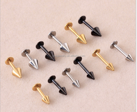 LP003 3&4mm pointed cone 4mm flat ends hippie chepa unique personality titanium lip piercing ring for boys and girls