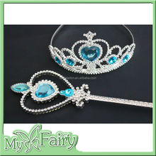 FCW-07 2015 Snow Princess Elsa Costume Tiara Crown Scepter Fairy Wand Girl Party Accessory