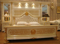 NEW- White & gold colour Luxury gold plated european style bedroom furniture set,MOQ:1SET(B6060)