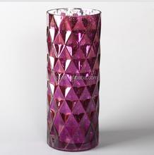 glass purple cylinder vase with big diamond