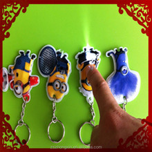 high quality and high cost performance lovely birds pvc led keychain