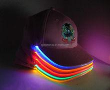 2014 trendy custom powered led lighted baseball cap, led cap