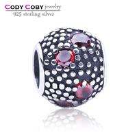 Wholesale Good Luck Silver Hand Made Custom Charms 925 Sterling Silver Round Ball Charm With Garnet AAA Cubic Zirconia DIY