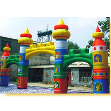 Custom colorful 12mS inflatable castle archway with 2 doors