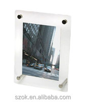fashionable design acrylic square shape picture photo block frame with nail