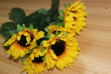 high quality artificial flowers cheap wholesale, bunch sunflowers ,wedding sunflower