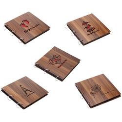 Special Design 26*26cm Vintage DIY Loose-leaf Photo Album Scrapbook Autograph Book Brown Wood Cover Footprint