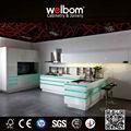 Design de luxe de cuisine, blanc glacé d'armoires de cuisine, meubles de cuisine moderne