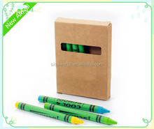 professional NON TOXIC 6pcs packed colorful crayons and wax pen in recycle paper box