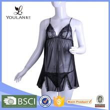 2015 Fashion Black Lace Sexy Nighty Dress Sleeping Wear