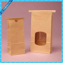 polypropylene interiors lined kraft outer color tin tie paper bag with window