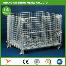 Galvanized Industry Storage Cages Folding Portable Steel Wire Bin