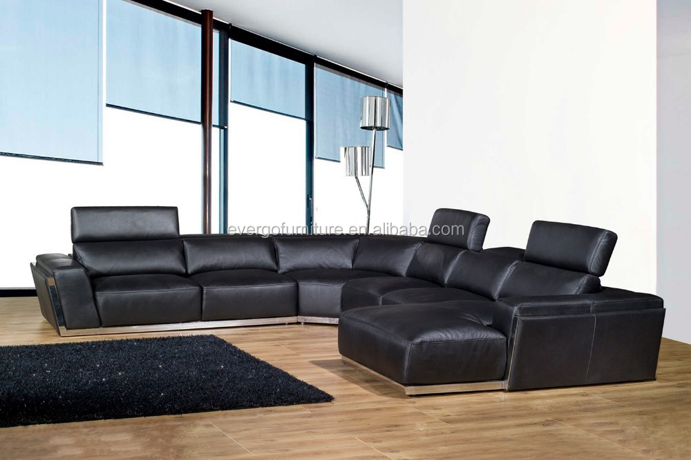 grey leather living room chaise corner sofas stainless steel frame