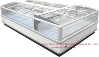 frozen food ice ream chest freezer with glass cover